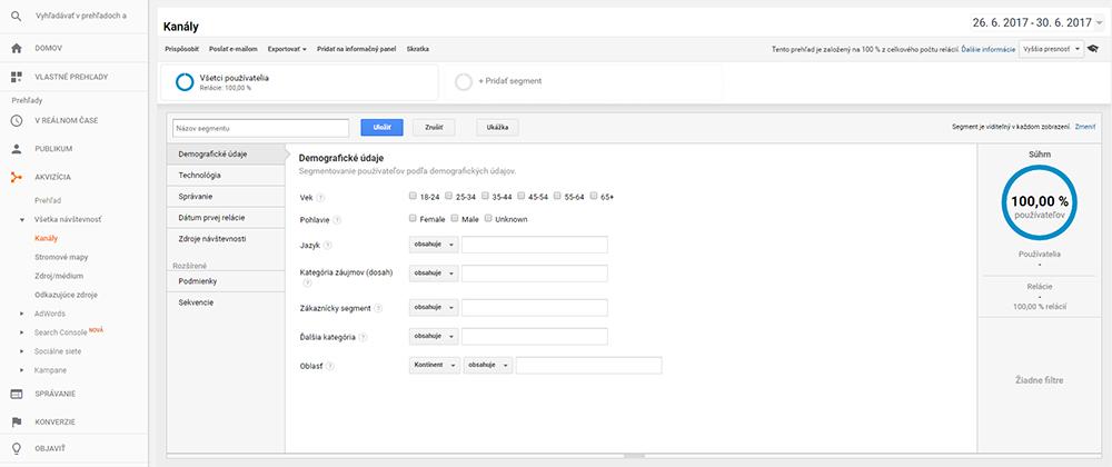 Google Analytics Tvorba segmentu | Audito.sk