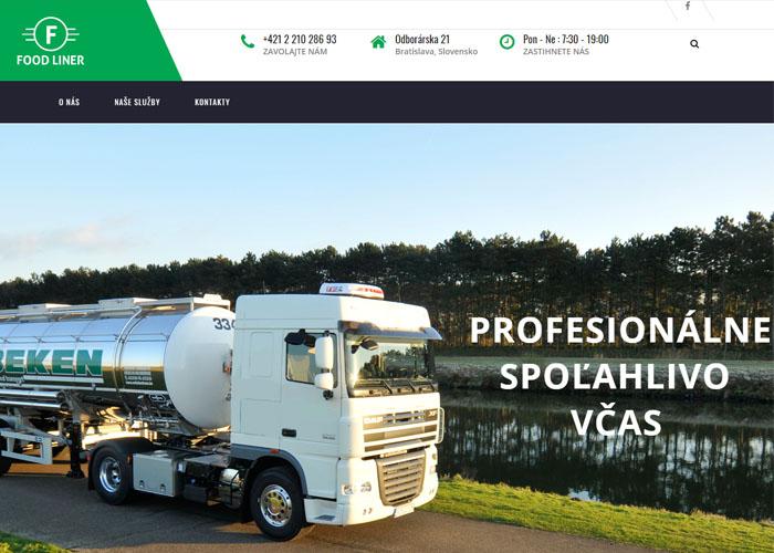 Webstránka pre dopravnú spoločnosť Foodliner